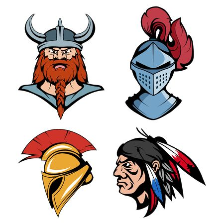 Spartan helmet for head. American Indian Chief. Viking head suitable as logo for team mascot. Knight warrior in combat helmet suitable as logo or team mascot. Vector graphics to design.