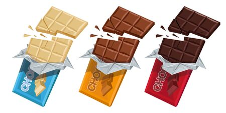 Broken Chocolate Bar. Milk, White and Dark chocolate. Sweetened block made from roasted and ground cacao seeds. Chocolate Package bar. Confectionery. Set of Milk, White and Dark chocolate products