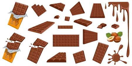 Chocolate. Hazelnut. Milk chocolate. Sweetened block made from roasted and ground cacao seeds. Milk chocolate bar and pieces. Confectionery. Set of different foreshortening of chocolate products.