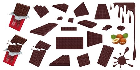 Chocolate. Hazelnut. Dark chocolate. Sweetened block made from roasted and ground cacao seeds. Dark chocolate bar and pieces. Confectionery. Set of different foreshortening of chocolate products.