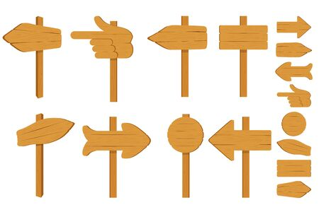 Set of various empty wooden sign boards, wood arrow sign on white background. Retro, old or vintage signs with nails. Banners for messages or pointers for path finding. Vector graphics to design.