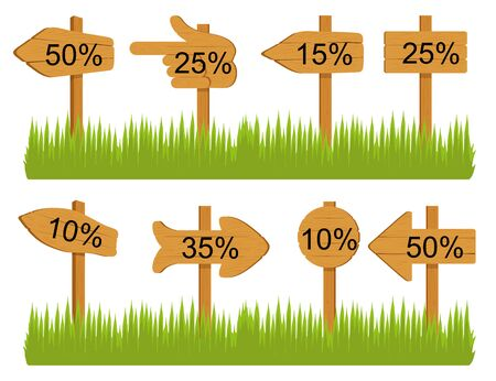 Set of various empty wooden sign boards, wood arrow sign on green grass. Retro, old or vintage signs point on percent. Banners for messages or pointers for path finding. Vector graphics to design. 일러스트