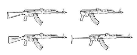 rifle. Firearms. Sketch Set of assault rifle AK-47, AKM, AKC, AKMC, AK-74. Firearms in combat. Assault Gun Wireframe. Machine guns. Assault rifles. Vector graphics to design