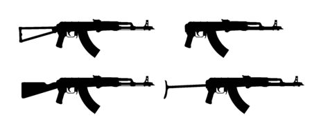 rifle. Firearms. Silhouette Set of assault rifle AK-47, AKM, AKC, AKMC, AK-74. Firearms in combat. Assault Gun Wireframe. Machine guns. Assault rifles. Vector graphics