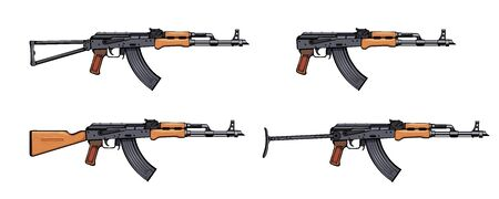 rifle. Firearms.  image Set of assault rifle AK-47, AKM, AKC, AKMC, AK-74. Firearms in combat. Assault Gun Wireframe. Machine guns. Assault rifles. Vector graphics Illustration