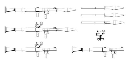 Rocket Propelled Grenade. RPG Firearms. Colorful image Set. RPG Anti-tank rocket launcher. Sniper scope rifle. Firearms in combat. Assault Gun Wireframe. Machine guns. Vector graphics to design