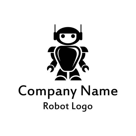 Robot logo for design. Bot icon. Robotics. Support service bot. Vector graphics to design.