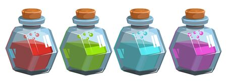 Bottles potion. Game icon of magic elixir. Mana, health, poison or magic elixir.Bottles with colorful liquid. Bottle jars with liquid potions for transformations Ilustracja
