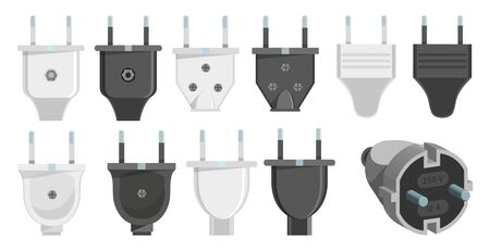 Electric plug set. 3d vector. Plugs icons. Connection cable. Vector illustration of various electric plugs. Vector graphics to design Ilustracja