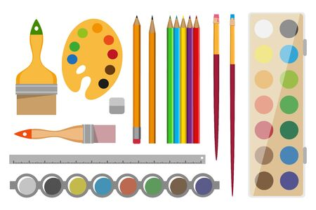 Set of Art supplies. Paint tools collection - eraser, paint, palette, pencil, brush, ruler. Artists supplies. stationery and drawing tool. Drawing creative materials for workshops designs.