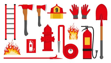 Set of firefighting items. Fire protection equipment. Fireman equipment. Equipment for firefighter. Profession Firefighter. Firehose hydrant, fire extinguisher, shovel, ax, helmet, gloves, ladder. Ilustracja