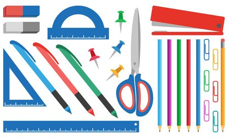 Set of Stationery Items. Eraser, Scissors, Ruler, Paper Clips, Drawing Pins,Pencils, Pens. School Supplies, Stationery stapler. Stationery Mock Up. Office equipment. School education equipment. Vector illustration