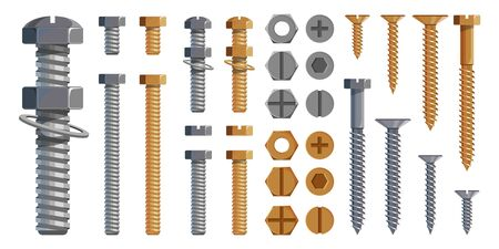 Vector set of Bolts, Nuts. Metal Screws, steel bolts, nuts, nails and rivets, self-tapping. Construction steel screw and nut, rivet and bolt metal illustration. Washer nut. Steel construction elements Ilustracja