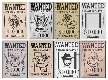 Wanted poster. Wanted, dead or alive. Vintage Western poster. Vintage paper. Bandit wanted for reward. Cowboy. Skull in hat. Native american indian. Wild west. Vector graphics to design
