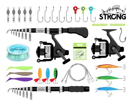 Spin fishing. Rod spinning. Fishing equipment. Fishing tools and hook. Set of tackle, fish, rod, sport, equipment, bait. Fishing emblems, labels and logo. Active Leisure on Nature.