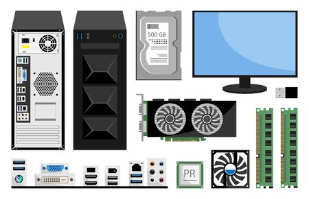 Realistic computer monitor, RAM computer Memory, CPU, Winchester disk, Motherboard, Processor cooler, ports, audio and video card for pc. Set of cloud computing services and technology, data storage.