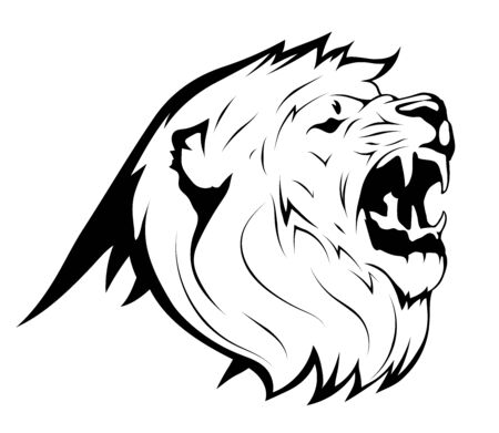 Angry Lion Roaring Logo Mascot. Vector animal lion. King Lion. Animal wild cat face graphic sign. Pride, strong, power concept symbol. Ilustracja
