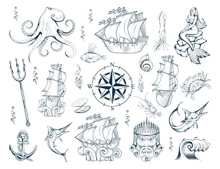 Nautical elements set with sailor sea animals, mermaid, ship, diving helmet, anchor, compass, poseidon, trident and octopus. Set of sea and nautical decoration. Collection marine, maritime or nautical Ilustracja