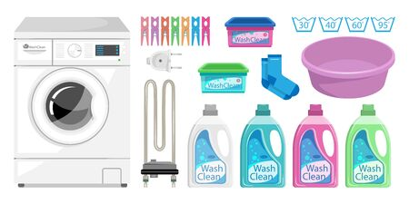 Washing Powder & Liquid Detergents. Laundry room interior with washing machine, clothes pin, socks, household chemistry cleaning, washing powder and basket. Heating element for a washing machine. Vectores