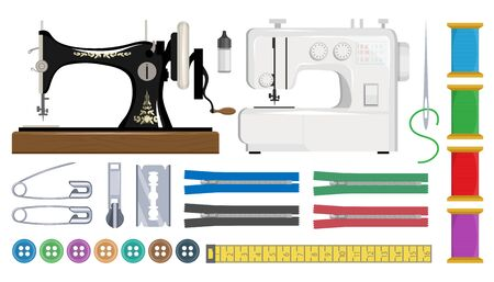 Sewing machine retro. Tools and materials sewing and needlework. Sewing machine, needle, safety pin, scissors, zipper, yarn, hanger and the spool of thread. Sewing workshop or tailor shop.