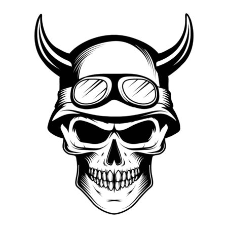 Monochrome illustration of hipster skull with mustache. Emblem tattoo skull. Halloween party, holiday, cloth, print, icon,  paper, decor. Vintage retro human skull and jaw.