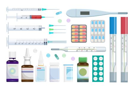 Set of various pills, drugs, vaccine, syringe and thermometer. Tablets and pills realistic set. Medical preparation. Medical product. Pharmaceutical dosage forms, medical and healthcare concept.