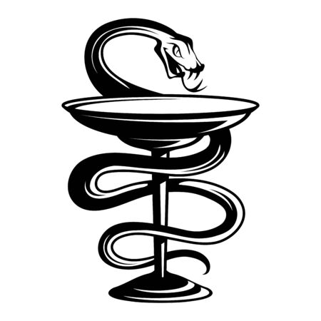 Emblem medicine snake wrapping around a bowl leg and bowed its head above the bowl. Medical symbol. Emblem for drugstore. Snake and a bowl pharmacy icon. Medical symbol of the Emergency.