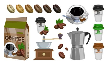 Coffee house. Coffee shop. Set With Turk, Cups, Bag With Beans, Coffee Mill,Coffee Maker, Kettle, Cups, Latte. Coffee beans realistic set showing various stages of roasting.
