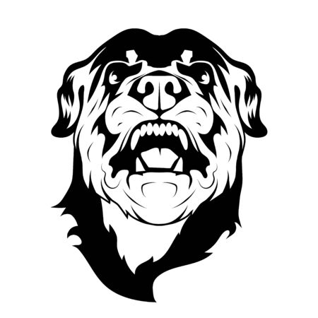 Image of angry rottweiler dog mascot  . Malicious sentry dog in a prickly collar. Mascot of a head of angry rottweiler, a breed of domestic large dog. Rottweiler Metzgerhund.