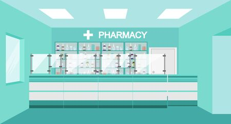 Pharmacy interior with drug shelves and cashier counter. Interior pharmacy and drugstore. Sale of vitamins and medications. Medicine pills capsules bottles vitamins and tablets.