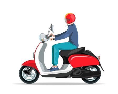 Motorcycle rider. Motorcycle driver. Bike scooter. Moped. Retro scooter. Scooter and motorbike. Economical and ecological city transport. Moped for tourism. Electric moped logotype.