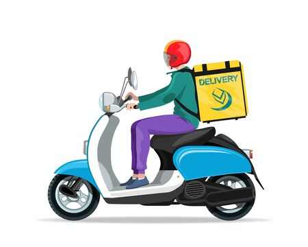 Motorcycle rider. Fast courier. Motorcycle driver courier. Bike scooter delivery. Moped. Motorbike. Economical and ecological city transport. Scooter for tourism. A guy with a yellow backpack drives