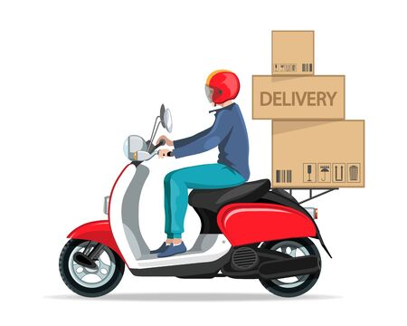 Motorcycle rider. Fast courier. Motorcycle driver courier. Bike scooter delivery. Moped. Scooter and motorbike. Economical and ecological city transport. Scooter for tourism. Food delivery on a moped