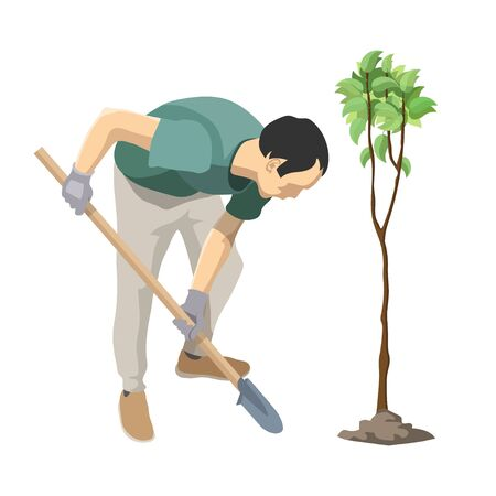 Man plants a tree. Gardener seedling plant. Man gardening volunteer. Volunteer planting a young tree. Planting plants and trees. Eco picture. Gardener planting a tree in his yard using shovel. Ilustracja