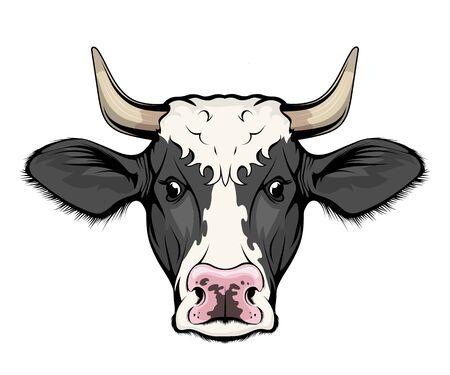 Kuh. Vieh. Bauernhoftier. Abbildung einer Kuh mit Hörnern - Landwirtschaftsemblemskizzentattoo, Maskottchen, Logo, T-Shirt oder Jägervereinssymbol. Milchkuh. Haustier. Logo