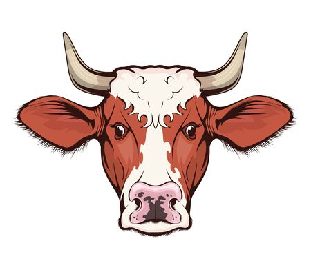Cow. Cattle. Farm animal. Figure of a cow with horns - farming emblem sketch tattoo, mascot, logo, t-shirt or hunter club symbol. Milch cow. Domestic animal.