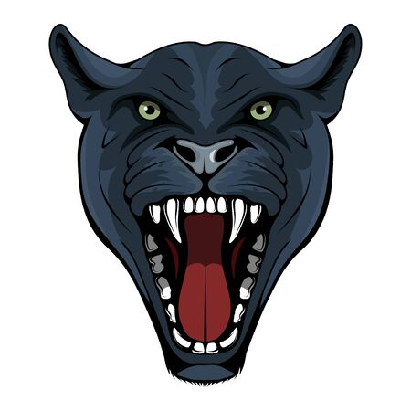 Panther, leopard, cougar, jaguar. Panther with angry face expression. Panther head mascot logo. Snow Leopard Mascot Color Logo. Jaguar Tattoo. Angry animal sports mascot. Growling cougar. Wild cats Ilustracja
