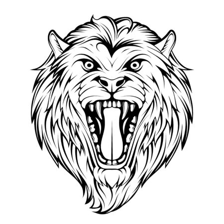 Head Angry, Roar Lion. Tattoo King Lion. Crown King. Predator animal. Lion Mascot Color   Animal Tattoo. Angry animal sports mascot. Wild big cat. Natural. Zdjęcie Seryjne - 146748035