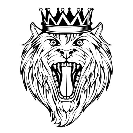 Head Angry, Roar Lion. Tattoo King Lion. Crown King. Predator animal. Vettoriali