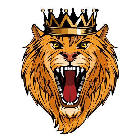 Head Angry, Roar Lion. Tattoo King Lion. Crown King. Predator animal. Çizim