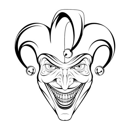 Joker Smile. Posters, Icon, Mascot. Joker esport mascot  . Jokester head. Jester icon. Buffoon  . Funster. Creepy clown face. Spooky Halloween masks with angry smile. Jester and Joker character Vettoriali
