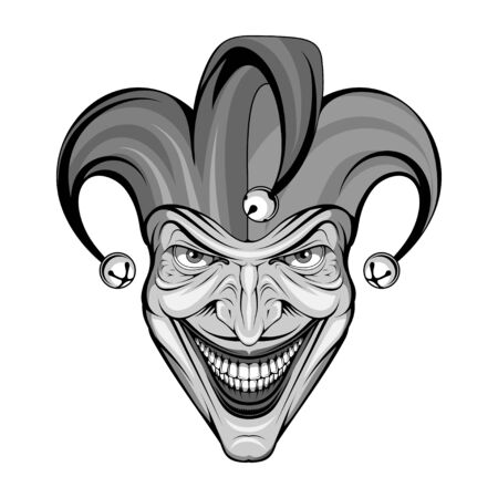 Joker Smile. Posters, Icon, Mascot. Joker esport mascot  . Jokester head. Jester icon.  Funster. Creepy clown face. Spooky Halloween masks with angry smile. Jester and Joker character