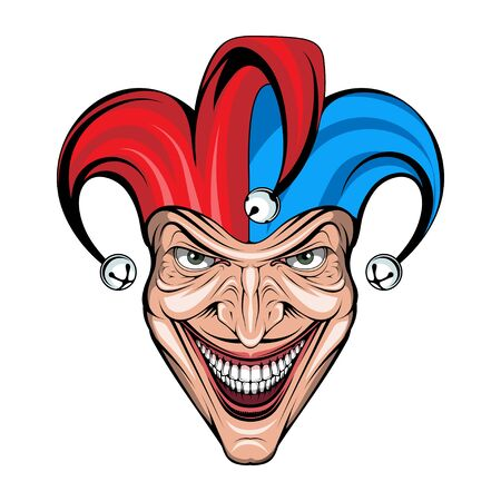 Joker Smile. Posters, Icon, Mascot. Joker esport mascot . Jokester head. Jester icon.  Creepy clown face. Spooky Halloween masks with angry smile. Jester and Joker character Vettoriali