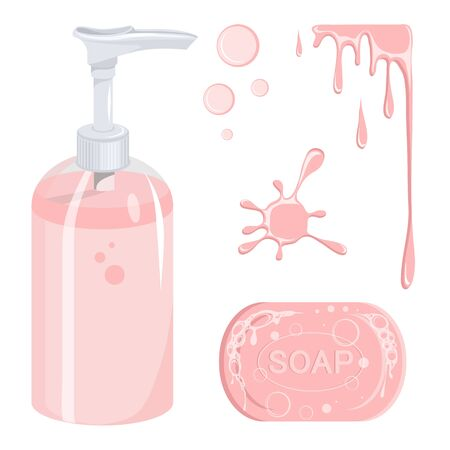 Soap set. Liquid gel. Soap bubble. Modern vector illustration for web and mobile. Foam images. Organic soap. Hygiene, hospitality, medical, protective. Liquid cream bottle. Vector graphics to design Vector Illustratie