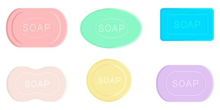 Colored soap set. Soaps Of Various Shapes. Different bars of soap with various aromas. Organic soap. Hygiene, hospitality, medical, protective. Vettoriali