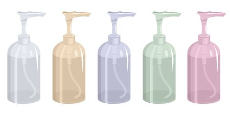 Plastic bottle with air pump dispenser. Different colors. Hygiene. Empty container for liquid gel, soap, lotion, cream, shampoo. Protective. Colors plastic bottle. Medical. Soap container. Çizim