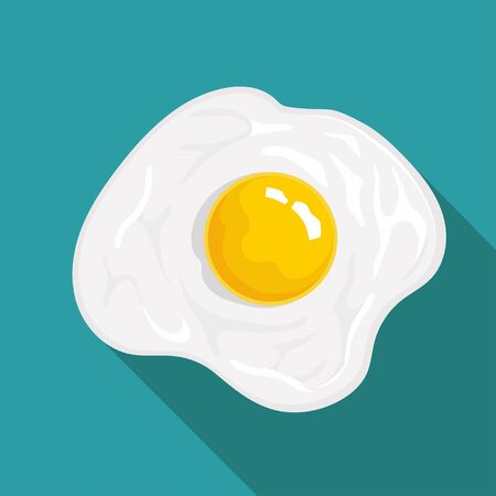 Flat Icon Omelette. Isolated on blue background with long shadow. Modern vector illustration for web and mobile. Vettoriali