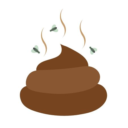 Flat Icon excrement. Feces images. Poop. Modern vector illustration for web and mobile. Fly around excrement. Vector graphics to design.