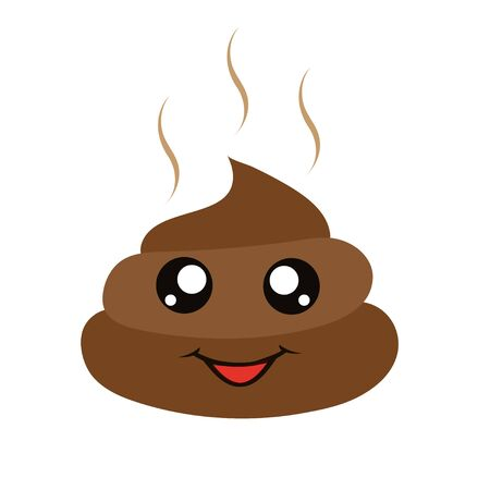 Flat Icon funny excrement. Kawaii feces images. Poop. Modern vector illustration for web and mobile. Fly around excrement. Vector graphics to design.