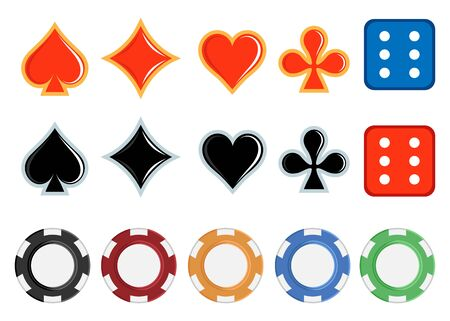 Card suits. Dice. Casino chips. Vector graphics to design.
